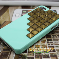 Cell Phone Hard Case Cover With Brass Studs For iPhone 4 4g 4s