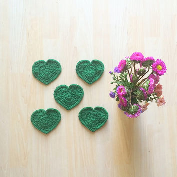 Emerald Green heart shaped coasters - set of 5 crocheted with 100% Peruvian highland wool