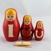 Matryoshka Russian Nesting Doll Babushka Message I Love You Set 3 Pieces Pcs Hand Painted Handmade Souvenir Gift Handicraft