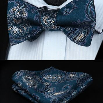 Bow Tie handkerchief set  BP714QS Aqua Yellow Paisley Bowtie Men Silk  Self