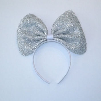 Minnie Mouse Ears Headband Silver Sparkle Jumbo Big hair bow Mickey Mouse Ears, Disneyland, Mickey Mouse Ears, Disneyland