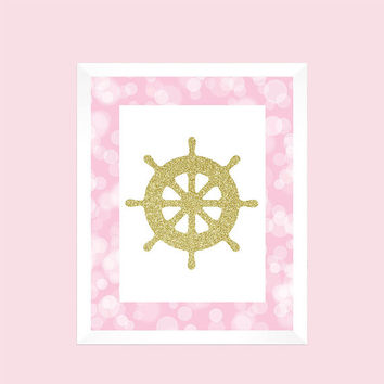 Nautical Gold Glitter Ships Wheel Pink Print Nursery Decor Baby CUSTOMIZE YOUR COLORS 8x10 Prints Nursery Decor Art Baby Room Decor Kids