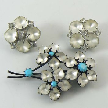 Austria Signed White Frosted Glass and Turquoise stone Japanned Flower Brooch, Earrings