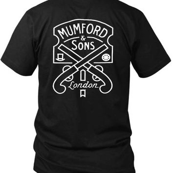 Mumford And Sons Logo Two Pistols And London 2 Sided Black Mens T Shirt