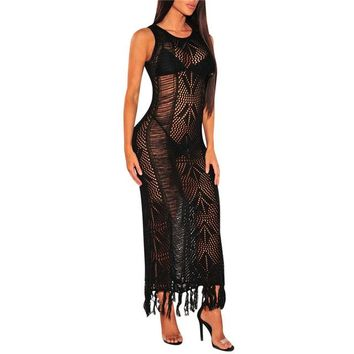 Cover ups Bikini Sexy Women Beach Cover-up Swimsuit 2018 Bikini  Summer See Through Knitted Dress Black White Tunic Robe Sarong KO_13_1