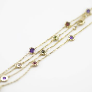 """By The Yard 24"""" Necklace in Gold with Multicolor Stones"""