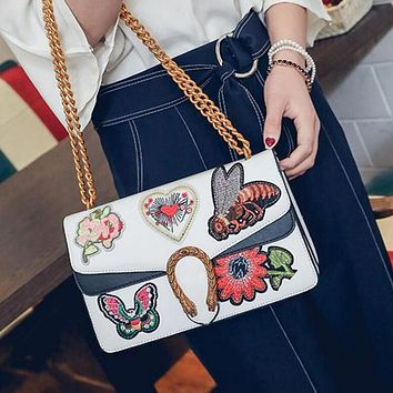 Trending Women Shopping Contrast Color Embroidery Vintage Small Square Bag Metal Chain Satchel Shoulder Bag Crossbody(5-Color) White