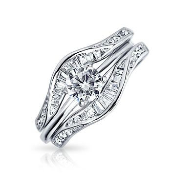 Silver Baguette CZ Round Engagement Wedding Ring Guard Set