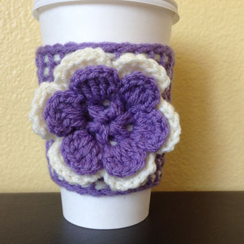 Coffee Cup Cozy, Lavendar Tunisian Crochet Coffee Cup Sleeve, Teacher Gift, Reusable Eco Friendly