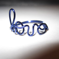 Dark Blue Love Ring Wire Wrapped by aLilJazzJewelry on Etsy