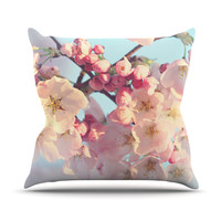 "Sylvia Cook ""Waiting for Spring"" Pink Blue Throw Pillow, 16"" x 16"" - Outlet Item"