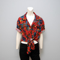 Vintage 1980's Chaus Size Large Tie Up Knot Crop Top Red Floral Geometric Pattern Print Blouse Button Down Shirt Top Women's L