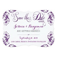 Eggplant Damask Save The Date 5x7 Paper Invitation Card