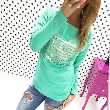 Scoop Long Sleeves Sequin Ripped Slim Blouse