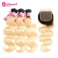 AliPearl Hair 1b/613 Blonde Bundles With Closure Free Part Brazilian Body Wave Human Hair Bundles 10-24inch Remy Hair Extensions
