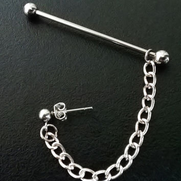 Industrial barbell piercing silver plated chain 14 gauge stainless steel earring