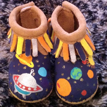 Custom Painted Spaceship and Planets Baby Moccasins