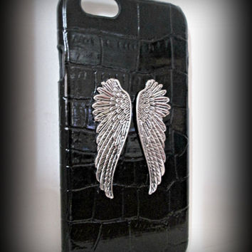 iPhone 6 case-crocodile pattern embossed leather iphone 6 case--gothic phone case-angle wings iphone case-steampunk ipad case-black case