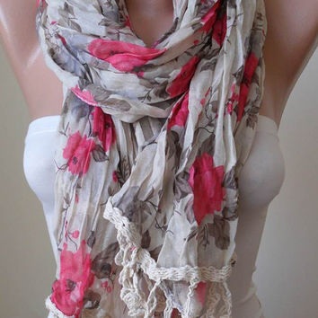 Summer Scarf - Beige and Pink Flowered Linen Fabric with Beige Trim Edge - Summer