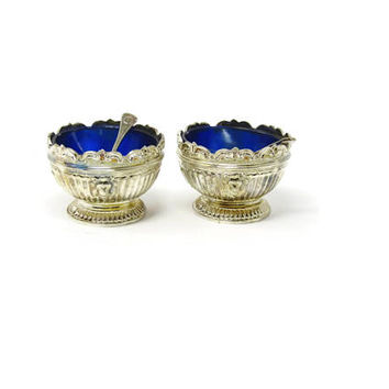 Vintage Salt Cellar with Spoon by Godinger - Silver with Cobalt Glass Insert from Godinger - Open Salt or Nut Dish
