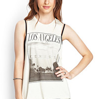 FOREVER 21 Venice Beach Muscle Tee Vanilla/Black