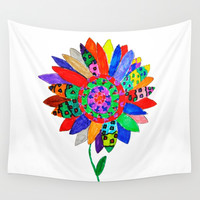 Mandala flower Veta Wall Tapestry by Azima