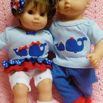 """American Girl BITTY TWINS Bitty Baby clothes """"Double Whale of a Tale"""" (15 inch) Boy and Girl Twins Set outfits Whales Red, white, and blue"""