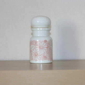 White mat glass apothecary jar, light pink floral pattern // lid in form of bulb. Belgium vintage