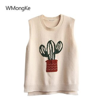 WMongKe Women Cactus Embroidery Sweater Girl Fashion Sleeveless Pullover O-Neck Poncho Autumn Winter Casual Solid Jumper