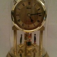 Clock Jones West Germany Quartz Pendulum Figurines Glass Dome Brass Base