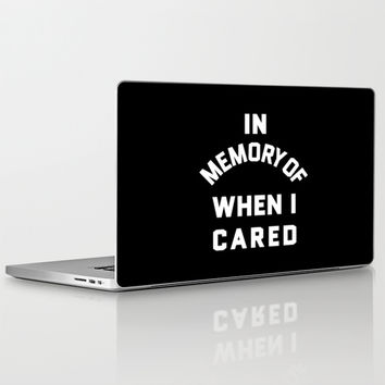 IN MEMORY OF WHEN I CARED (Black & White) Laptop & iPad Skin by CreativeAngel