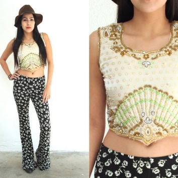 Vintage BEADED Ethnic Indian Embroidered Cropped Tank Top // Green Champagne Gold // Bohemian Hippie Gypsy // XS Extra Small