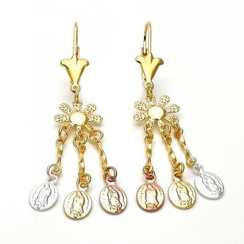 Gold Layered 02.63.2276 Chandelier Earring, Flower and Guadalupe Design, Diamond Cutting Finish, Tri Tone