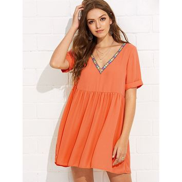 Embroidery Tape Neck Cuffed Smock Dress