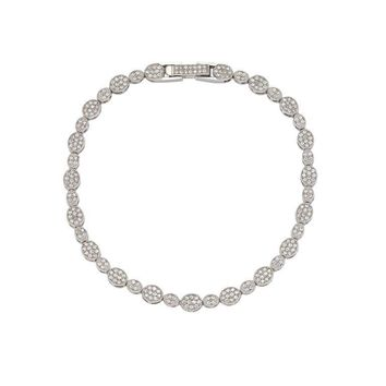 .925 Sterling Silver Rhodium Plated Multiple Cricle &  Marquise Clear Tennis Micro Pave Cubic Zirconia Bracelet