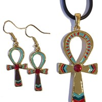 Ankh Egyptian Color Costume Dangle Earrings and Pendant Necklace