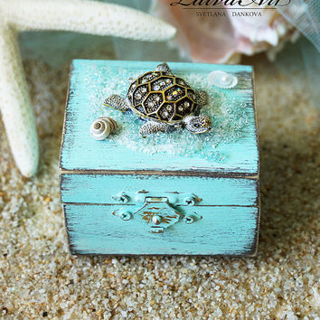 Beach Wedding Ring Bearer Pillow Box Rustic Ring Bearer Ring Box Personalized Box Beach Ring Box White Ring Box Beach Ring Bearer