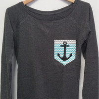 Long Sleeve Shirt - Chevron ZigZag Anchor Pocket Print