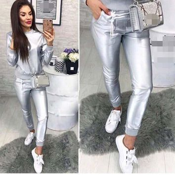 Silver Pockets 2-in-1 Drawstring Waist Fashion Long Jumpsuit