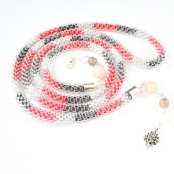 Long necklace , tie women, lasso , stones agate , quartz stone , bound , bead cord , bead necklace , shaded