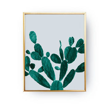 Opuntia Cactus Green Print, Cactus Illustration, Prickly Pear, Plant Poster, Boho Desert, Modern Prints, Desert Art Print, Desert Cactus Art