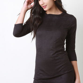Round Hem Vegan Suede Dress