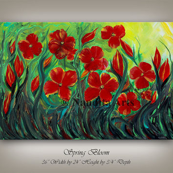 Flower Painting, Red Painting, Wall Decor, Red Flower paintings, Large Painting, Canvas Art, Wall Art, Wall Hangings, by Nandita Albright