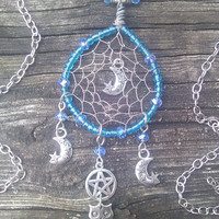 Owl Moon And stars Dream Catcher Pendant,Triple Moon Goddess Jewelry,Wiccan Pentacle Necklace,Owl Totem Spirit Guide Gypsy Boho