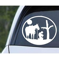 Cowboy Praying with Horse and Cross Round Christian Die Cut Vinyl Decal Sticker