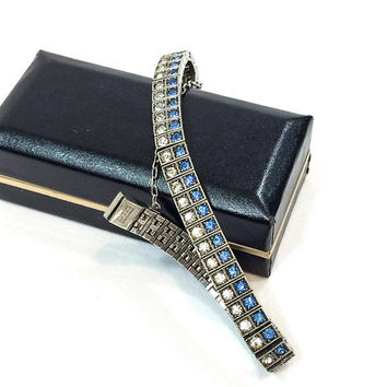 Diamonbar Sterling Line Bracelet, Double Row Clear & Blue Crystal Rhinestones, Tennis Style, 1910s Art Deco Jewelry. Antique Bridal Jewelry