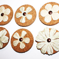 Decorative Beige Flower Cork Magnets - 6 Pack!