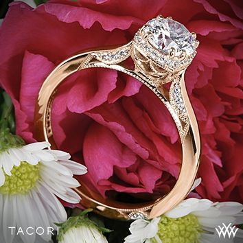 18k Rose Gold Tacori Dantela Crown Solitaire Engagement Ring for 0.75ct center