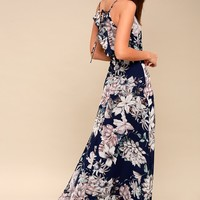 Something Just Like This Navy Blue Floral Print Maxi Dress