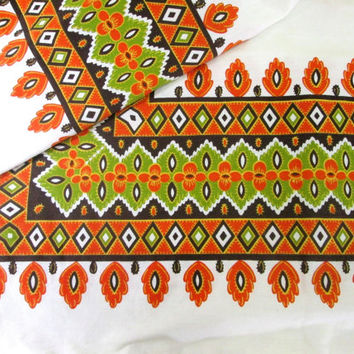 Vintage Tablecloth Bohemian Fall Orange Boho Table Cloth Table Linens Autumn Retro Mod Kitchen Linens